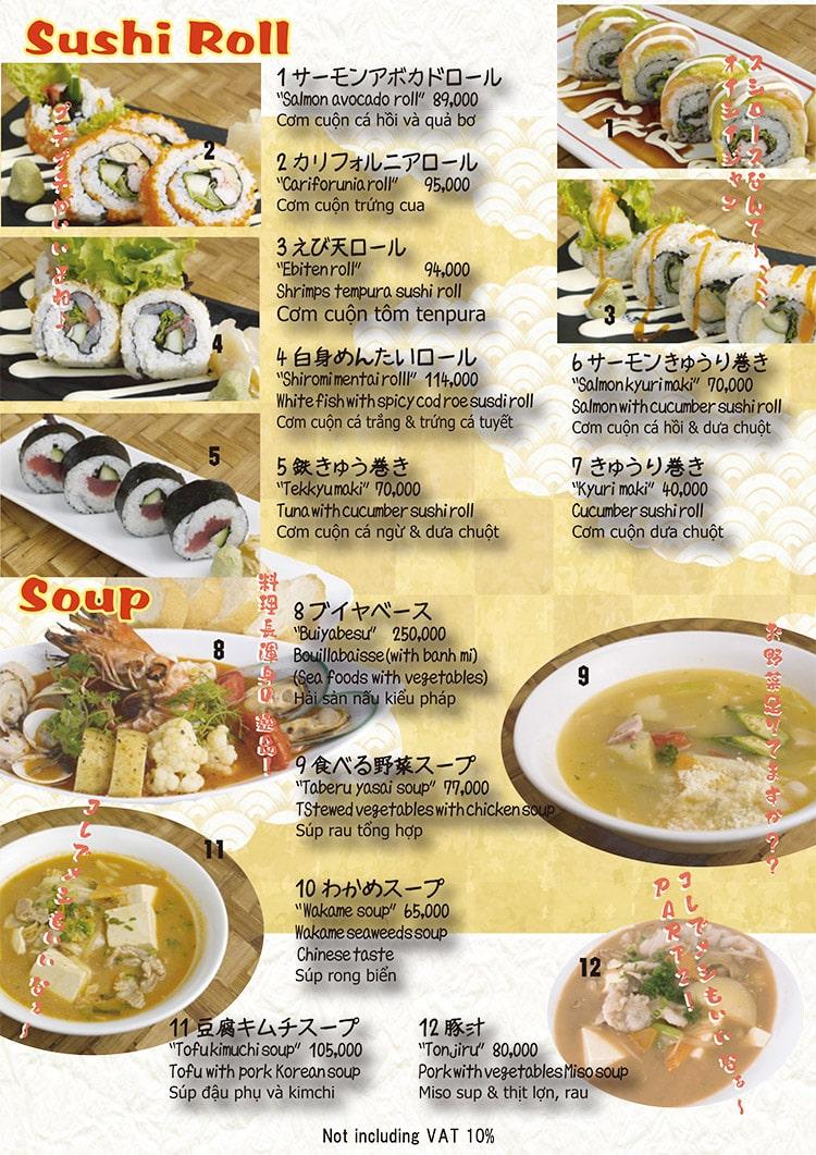 Matsuri Izakaya menu sushi